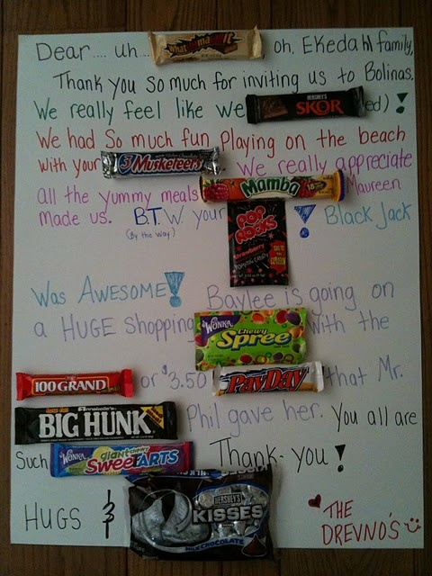 Candy Bar Thank You Card Love This Idea Diy Gifts For