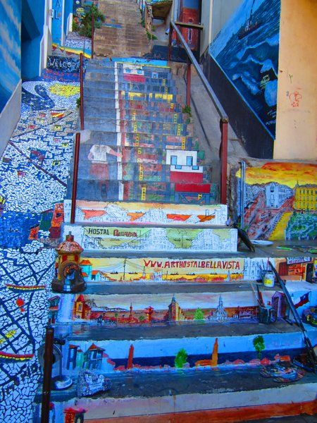 #StreetArt #Stairs in #Valparaiso, #Chile | #Travel #Cruise