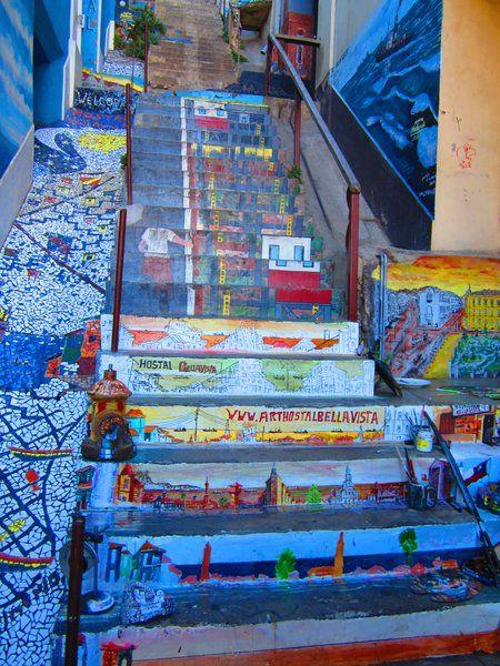 #StreetArt #Stairs in #Valparaiso, #Chile | #Travel #Cruise