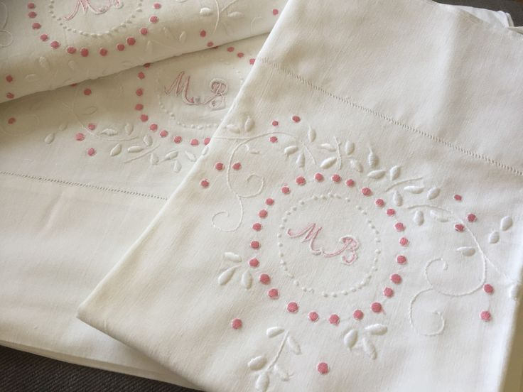 Antique/French Linen/twin set/hand embroidered/monogrammed/MB/ flat sheet /and /pillow case by WifinpoofVintage on Etsy