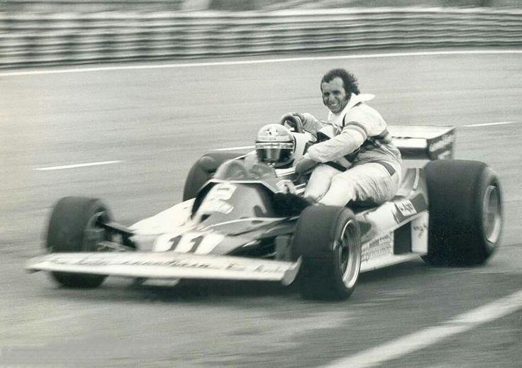 Niki Lauda in his Ferrari with Emerson Fittipaldi aboard - 1977