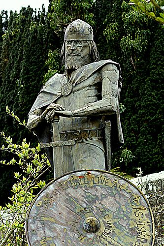 Alfred the Great, King of Wessex - Amid the ruins of Shaftesbury Abbey is a recreation of a medieval herb garden, and in the centre of this, surveying the whole site, is a striking bronze statue of Alfred the Great, founder of the Abbey and King of Wessex from 871 to 899. **