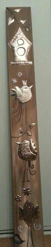 Come visit me high up in the tree. Pewter on wood