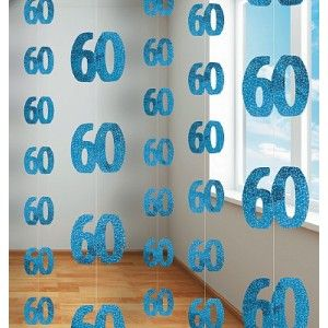 60th Birthday Cake Ideas on 60th Birthday Blue Hanging String Decoration