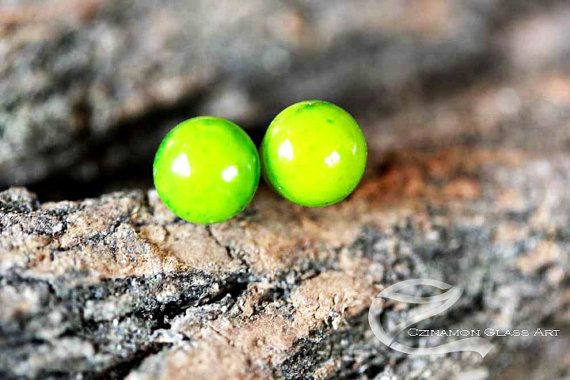 Green studs, Tiny stud earrings, Moss Green Fused Glass Stud Earrings, small stud earrings