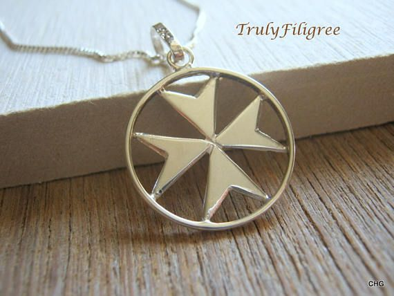 Check out this item in my Etsy shop https://www.etsy.com/uk/listing/509483702/maltese-cross-necklace-silver-malta