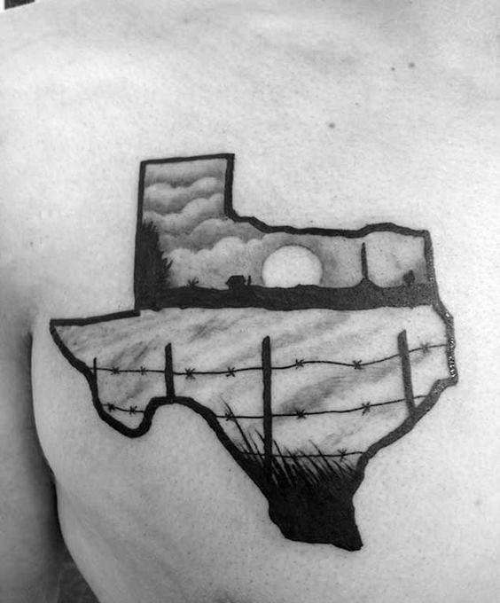 Farm Texas Mens Upper Chest Tattoos