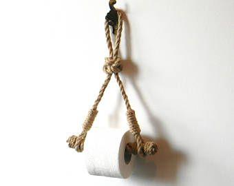 Toilettenpapier Rope Holder .. Industriedesign .. Toilettenpapierhalter .. Jute Rope Nautical Decor .. Badezimmereinrichtung. Handtuchhalter