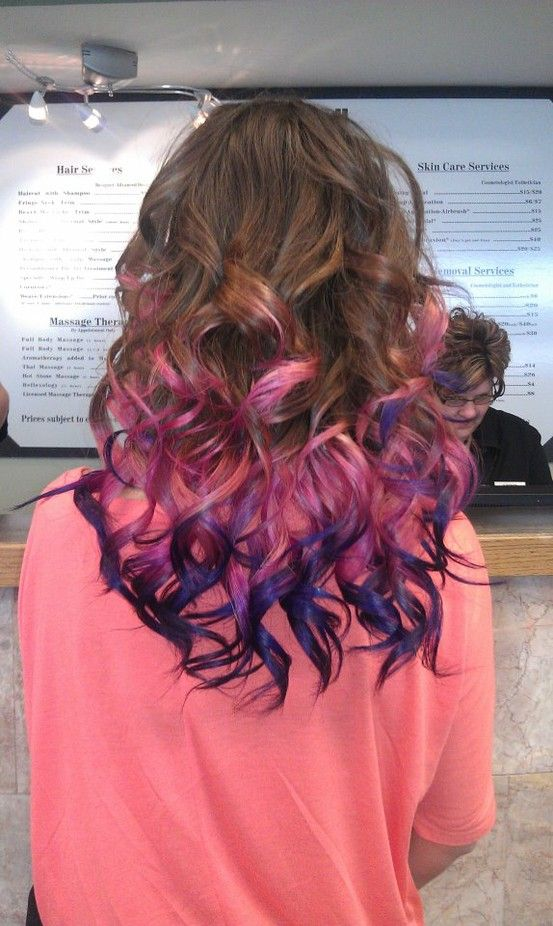 dip dye hair purple and pink - photo #31
