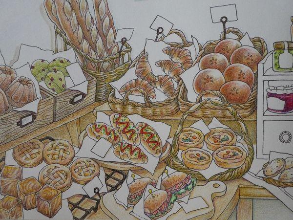 2 クーピーで籐カゴの塗り方紹介 憧れのお店屋さん パン屋さん店内続き より 塗り絵日記 ぬり絵 塗り絵 イラスト