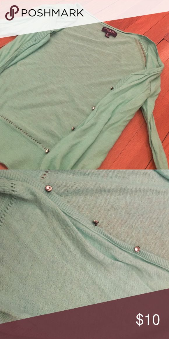 Sea Green/Mint Cardigan Light cotton-Wool blend. Great detailing. Awesome condition. American Eagle Outfitters Sweaters Cardigans