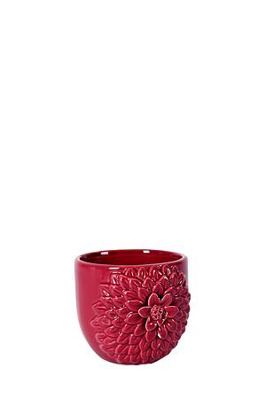 """This ceramic planter with embossed flower detail and glazed finish, will make a statement grouped together or placed separately in your garden or patio area.Available in two colours.<div class=""""pdpDescContent""""><BR /><b class=""""pdpDesc"""">Dimensions:</b><BR />L11xW11xH9 cm</div>"""