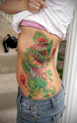 Venus Fly Trap Rib Tattoo