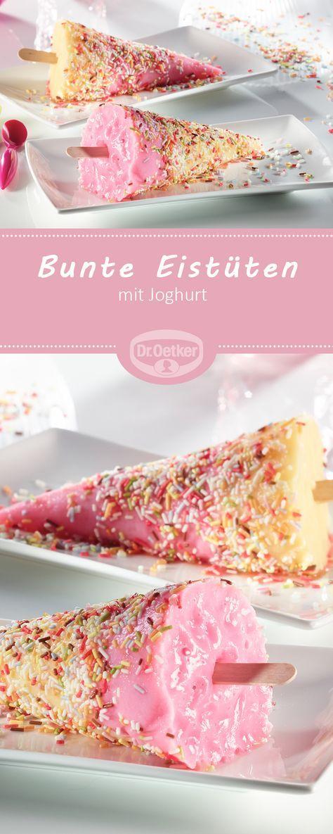 Bunte Eistüten mit Joghurt für Kinder - Buntes Eis mit Götterspeise für Kinder #rezept #eis #kinder