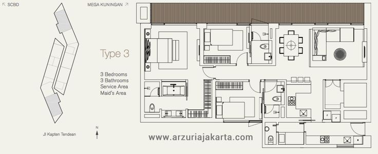 Type 3 Bedrooms Apartment Arzuria Jakarta
