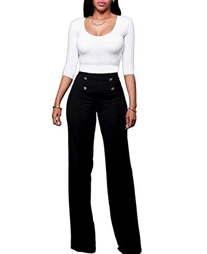 Special Offer: $21.69 amazon.com Womens High-waisted Wide Leg Elegant Button Design PantsMaterial:Polyester / SpandexHigh waist, decorative button front, zipper back, wide flare leg.Sailor-style trouser. Easy and soft to wearPlease refer to our size info on picture.Usually it takes about...