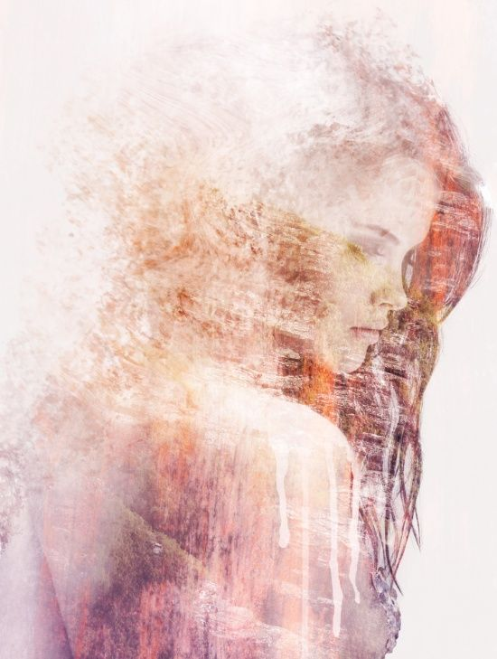 Beautiful, artsy double exposure of a girl's silhouette - Fade Out Art Print by One Man Workshop | Society6