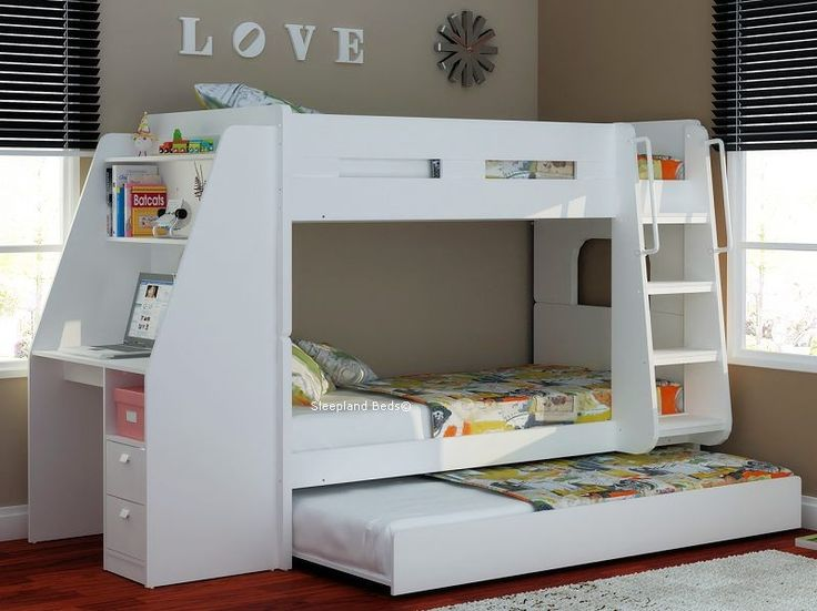 Olympic White Wooden Bunk Beds With Large Desk Storage And Trundle Bed