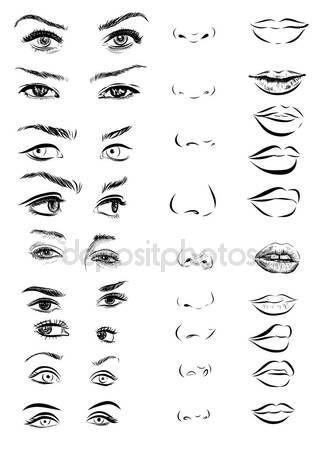Juego de ojos de mujer, labios, cejas y narices como blanco y negro dibujo de elementos de diseño. Vectores Eps