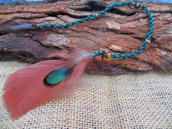 Tee Tree  Macrame Green and Brown Clip in Feather by NoodgeDesigns, $20.00