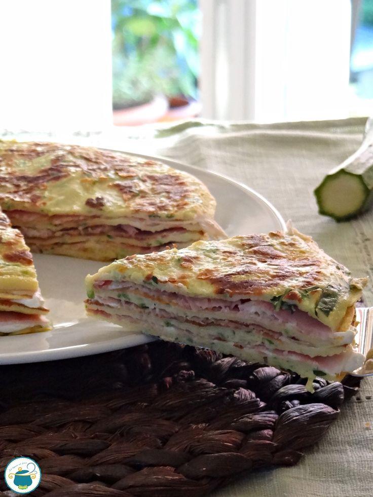 #pancake salati di zucchine, farciti con prosciutto e #formaggio! #Gialloblogs