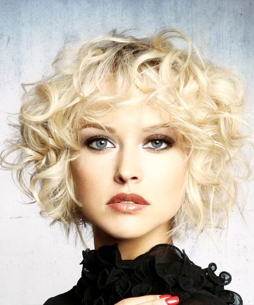 Short Curly Formal Shag Hairstyle - Light Blonde (Platinum)