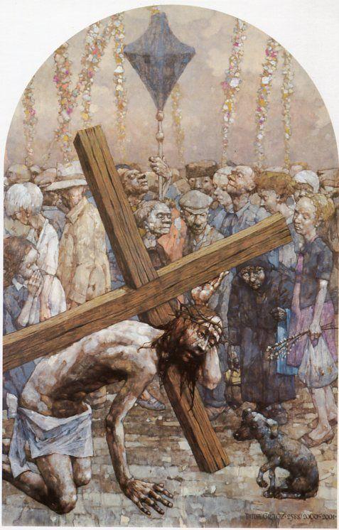VII Estación Jesús cae a tierra por segunda vez.Gólgota de Jasna Góra, del pintor polaco Jerzy Duda Gracz