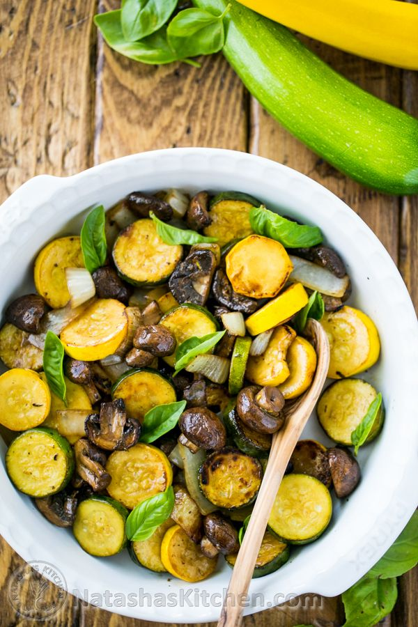 Grilled Zucchini and Mushrooms; an easy and tasty way to grill veggies! @natashaskitchen
