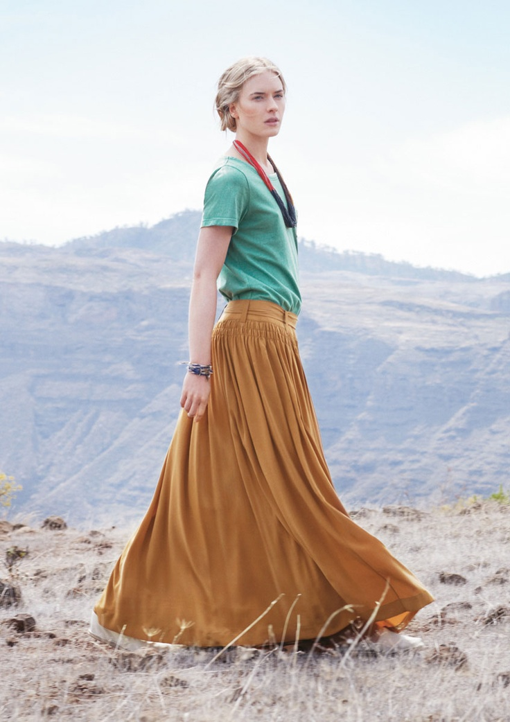 Teal tee and full mustard maxi skirt