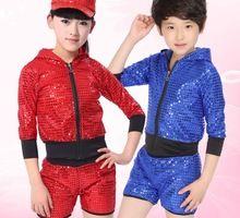 Niños etapa trajes de danza jazz hiphop danza ropa conjunto chaqueta Niño niños Lentejuelas hip hop con capucha outfit set niños gilrs(China (Mainland))
