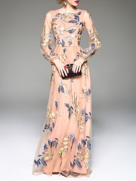 Shop Maxi Dresses - Pink Silk-blend Crew Neck Balloon Sleeve Embroidered Evening Dress online. Discover unique designers fashion at StyleWe.com.