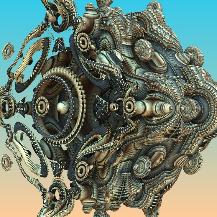 Mandelbulb 3D, 04.04.2013 This reminds me of the engine I once had in a Chevy.  The exploded view in the repair manual looked just like this.