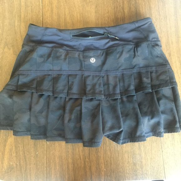 Black camo Lululemon pace setter skirt In a frantic search for a long-coveted item, I accidentally purchased it in the wrong size. So, here's a SIZE 4 skirt, in that awesome black camo pattern. In perfect shape, and I don't think it's been worn much, if any (it definitely wasn't worn by me, as I can't get my big toe into it). Please let me know if you'd like photos of anything in particular. lululemon athletica Skirts