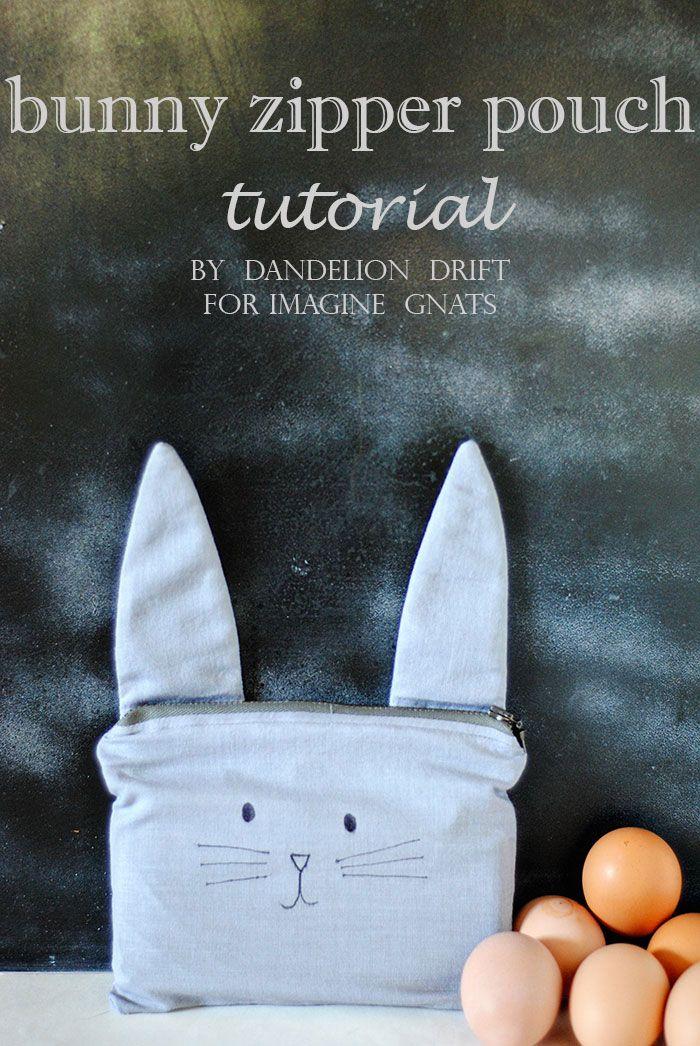 sew: bunny zipper pouch tutorial || imagine gnats