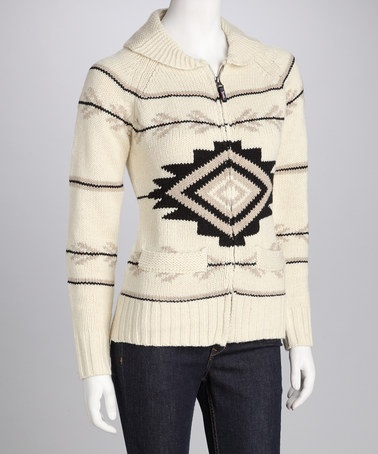 Take a look at this Triple Five Cream Zip-Up Sweater by Triple Five on #zulily today!