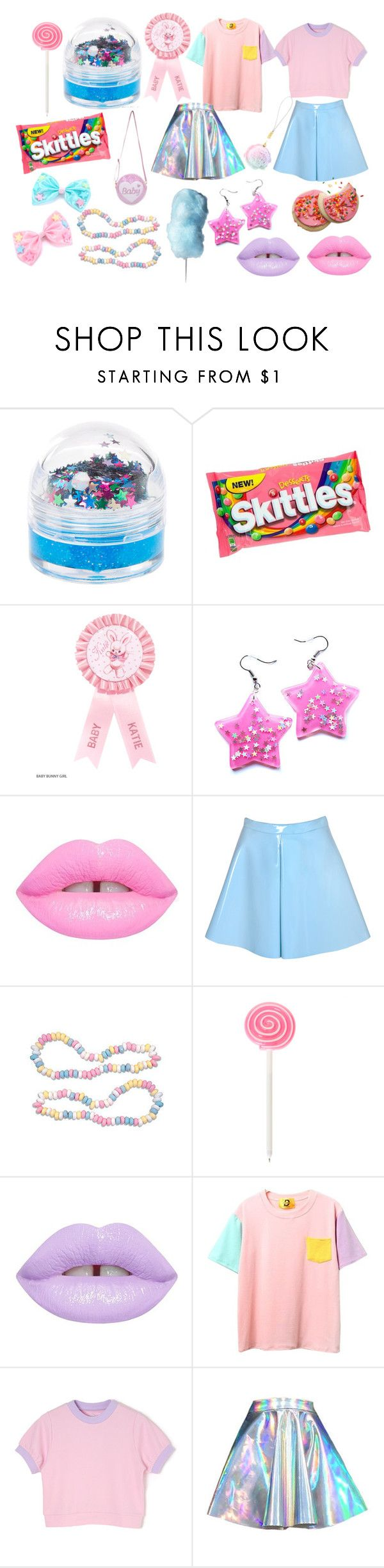"""Party Kei"" by infiglo ❤ liked on Polyvore featuring claire's, Lime Crime and Glamorous"