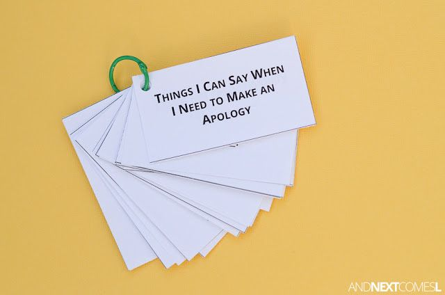 Free printable apologizing social scripts for kids with autism or hyperlexia from And Next Comes L