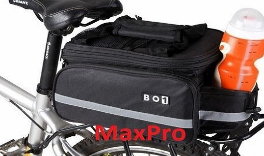BO1 MaxPro BO1 Cycling Bicycle Bike Rear Rack Bag Extending Top Plus Extending Foldaway Panniers with Ra EXCELLENT QUALITY BO1 MULTI- FUNCTION REAR CYCLE RACK BAG WITH FOLD AWAY PANNIERS   RAIN COVER Large Capacity Bag with Extendable zip top to increase