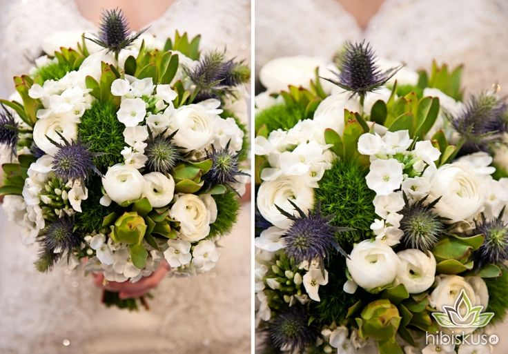 Winter wedding flowers - frosty and beautiful #bluethistle #winterwedding #weddingflowers #bukietslubny #niebieskibukiet #hibiskus.pl #flowers #kwiaty #wedding #flower #kwiatki #bride
