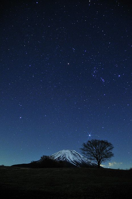 Mount Fuji in winter at night, Japan