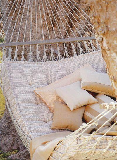 Sleeping in hammocks: Cushioned Hammock, Outdoor, Hammocks Sleeping, House, Dreamy Hammocks, Future Backyard, Hamacas Hammock, Hammock Hamacas