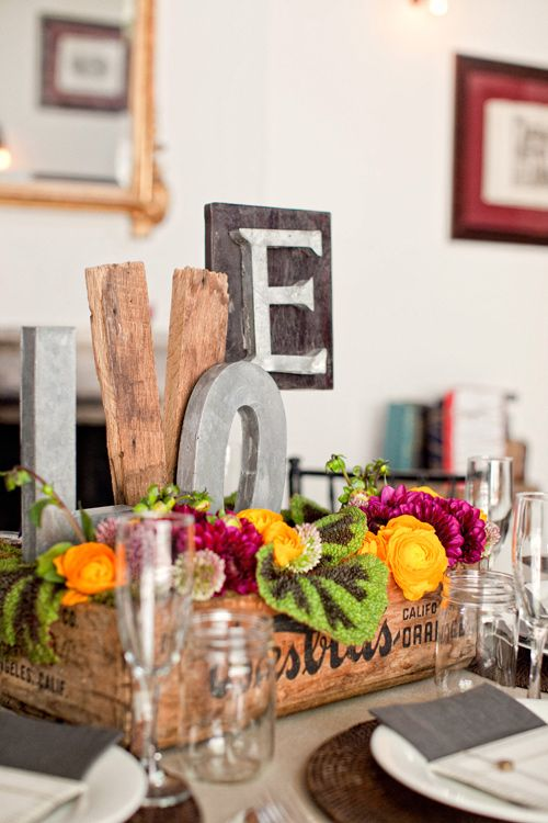 Rustic Bridal Shower Centerpiece