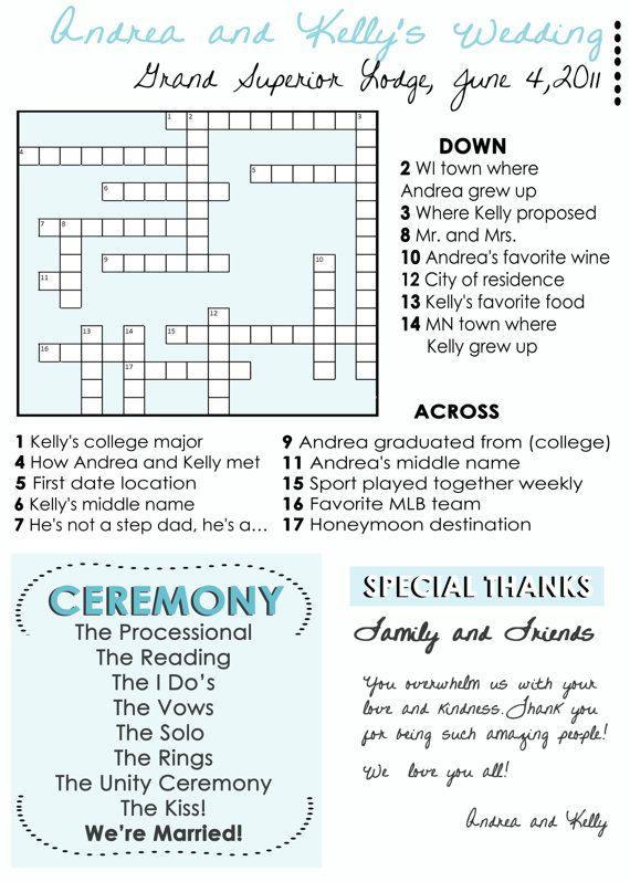 cute wedding program idea