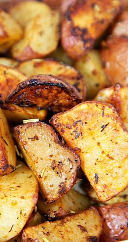 Savory Roasted Red Potatoes Recipe ~ Red potatoes tossed in oil, rosemary, Worcestershire, garlic, paprika and baked... Seriously delicious.
