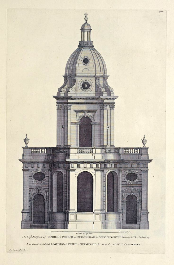 Front Elevation Antique : Elevation of st philip s church birmingham