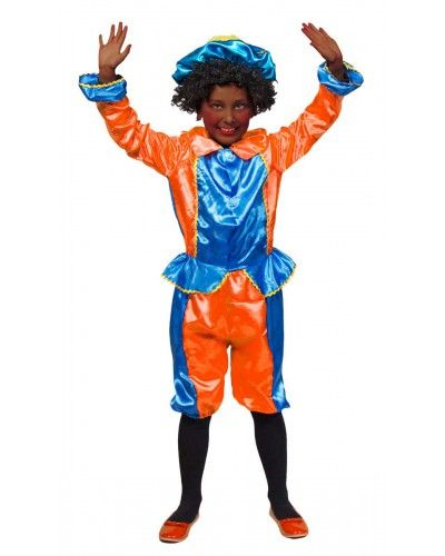 Pieten kostuum in het blauw en oranje.