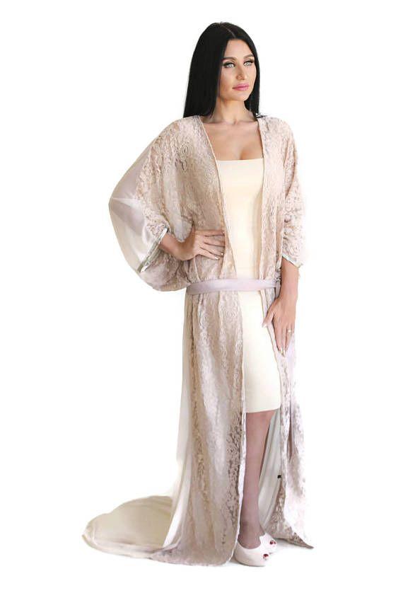 Maxi Nude Lace Kimono Robe Abaya Dress Kaftan Beach Coverup Coats Jackets Dusters Kaftan Kimono Robes Trend 2017