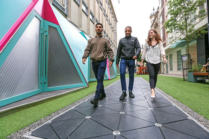 pavegan's walkway in london turns people's footsteps into electricity