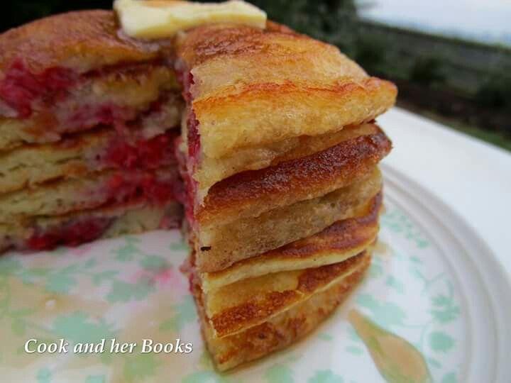 Raspberry Buttermilk Pancakes  -  facebook.com/cookandherbooks/