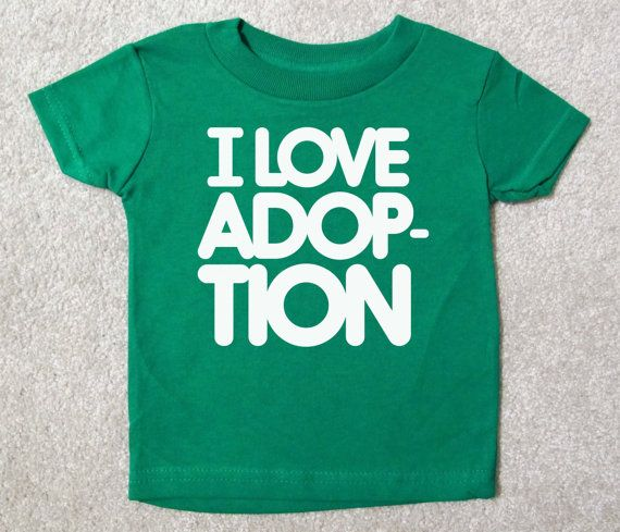 Baby T I LOVE ADOPTION Multiple Shirt Color by HappyGoatDesigns